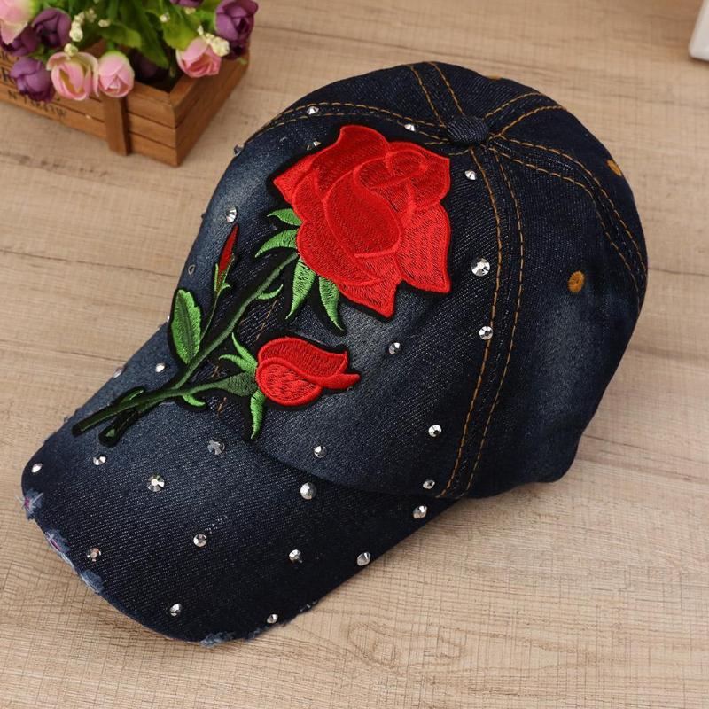 Bling Strass Blume Denim Baseball Kappe Frauen Mode Stickerei Rose Hysterese Hut Größe Einstellbar Kappen Bekleidung Zubehör