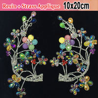 Resin Glass Material Material 10x20cm AB Colors Waist Dress Desinging Sewing On Rhinestone Applique For Bridal