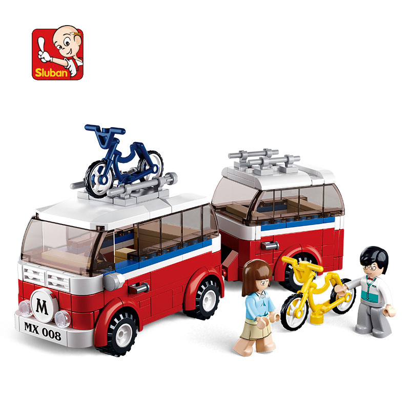 0566 SLUBAN City Friends Motorhomes Camping Car Model Building Blocks Enlighten DIY Figure Toys For Children Compatible Lego