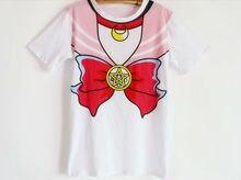 2016 Anime Sailor Moon Cosplay camiseta Trajes Camiseta de Algodón de manga Corta Envío Gratuito