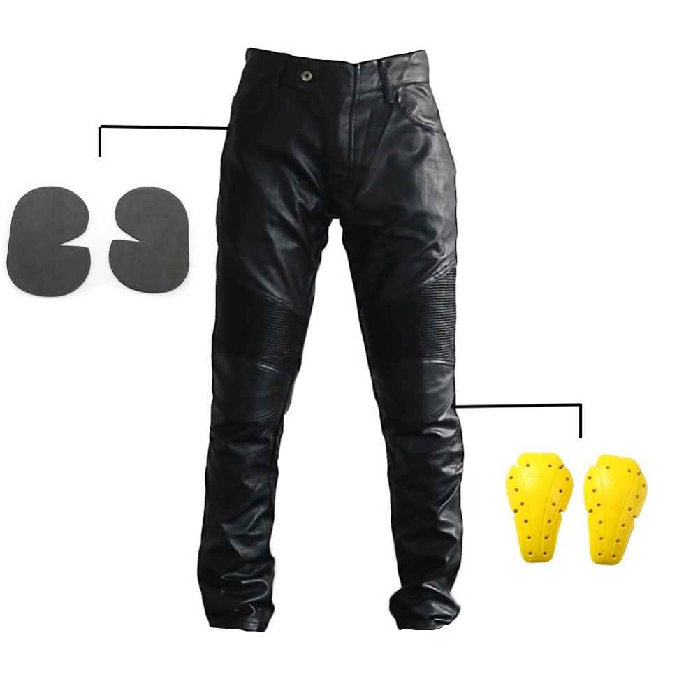Motocross Racing Pants Moto Trousers PU Leather Biker Pants For Men Women Motorcycle Motorbike Riding With 4 X CE Knee Hip Pads