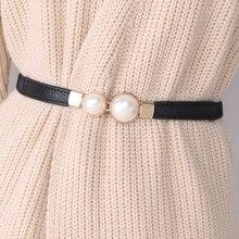 Женский эластичный пояс, модный пояс-стрейч, тонкий пояс, двойной большой жемчужный пояс, черное платье, аксессуары