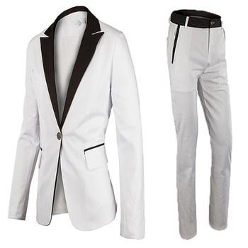 Leisure business men suit a grain of buckle formal occasions wedding the groom's best man handsome two-piece men's suit