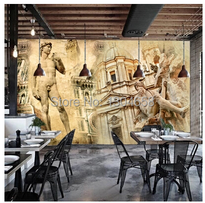 Free shipping custom 3D mural sculpture of David European architectural Coffee hall the television background wall wallpaper free shipping custom 3d mural retro european buildings in paris coffee hall the television background wall wallpaper