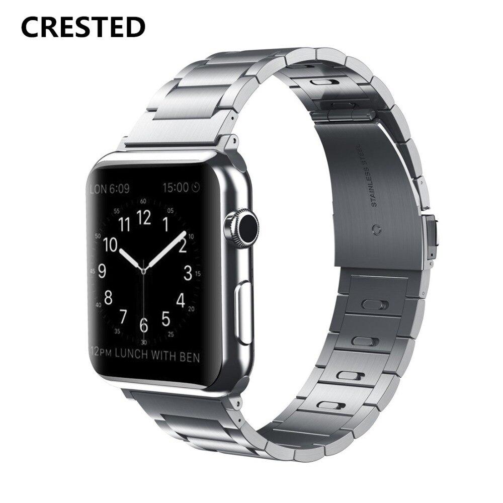 AIGRETTES acier inoxydable bande Pour apple watch série 4 44mm/40mm sangle iwatch 3/2/1 42mm/38mm lien bracelet poignet Amovible ceinture