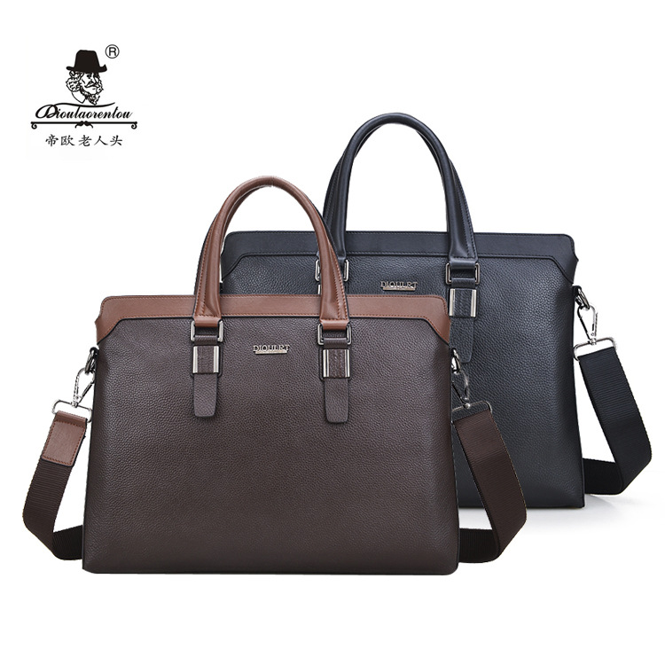 High Quality Famous Brand Men's Classic Black Briefcase Genuine Leather Business Office Laptop Bag Lawyer Handbag Document цена и фото