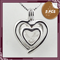 FREE SHIPPING, Ladies Double Heart Design Sterling Silver Cage Pendant