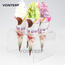 VONTERP 1 PC Transparent 4 Holder Acrylic Ice Cream Cone/ Sushi Hand roll Stand /acrylic cone holder