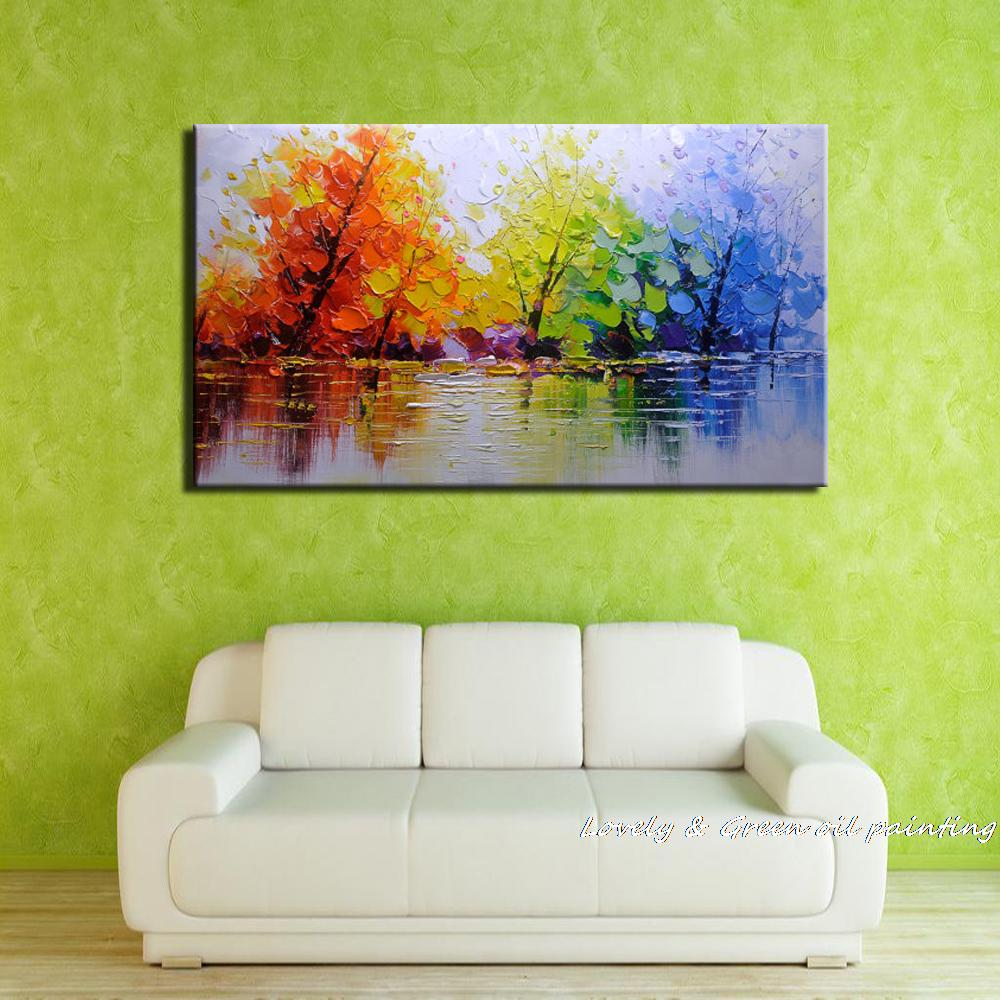 100% Handpainted Color Tree Knife Modern Oil Painting On Canvas Wall ...