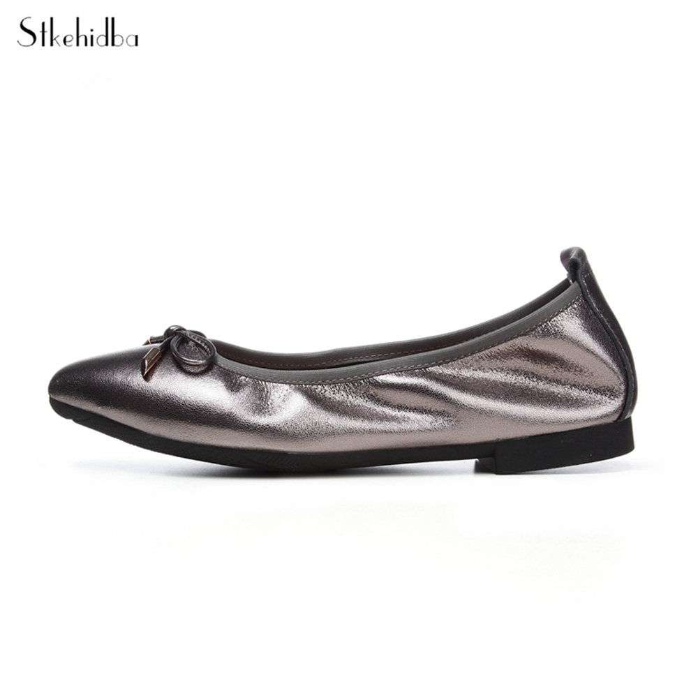Stkehidba Women Casual Shoes Real Leather Women Shoes Top Quality Flat Shoes Rollable Ballet Flats Plus