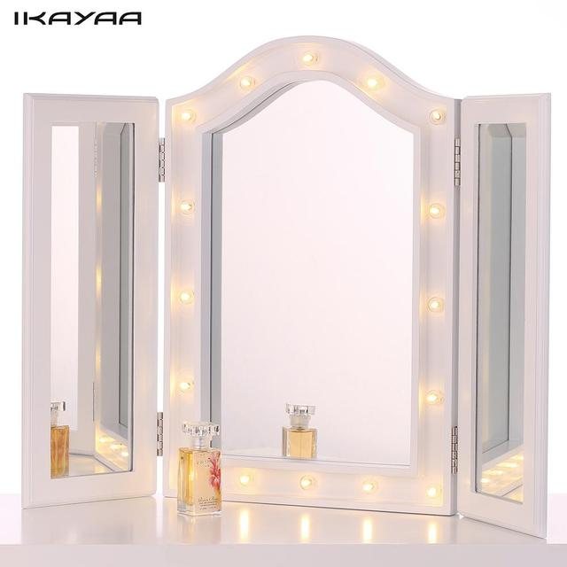 IKayaa LED Lighted Makeup Mirror Cosmetic Mirror Trifold Vanity Mirror  Stand Folding Countertop Makeup Mirror Table
