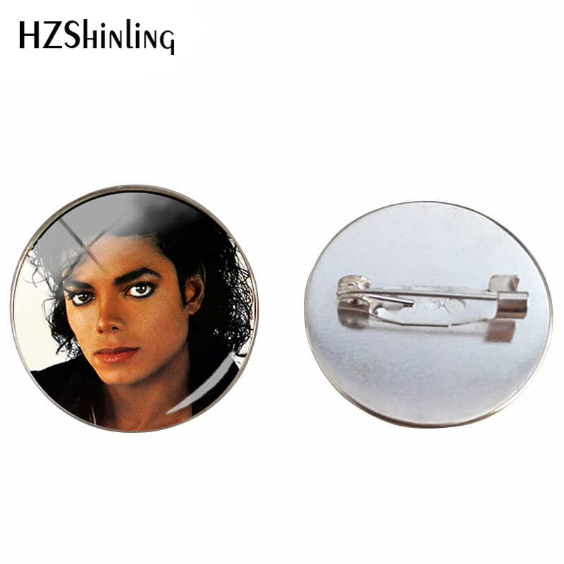 2019 New Michael Jackson Glass Cabochon Silver Brooch Moonwalk Hand Craft Pendants Glass Dome Brooches Jewelry Pins Gifts