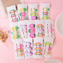 3pcs Baby Snap Hair Clips for Children Kids Girls Hair Accessories Cute Cartoon Fruit Animal Hairpins Clip Pins Color Barrettes 3pcs scrunchy girls cute simulated biscuits cartoon shape hair clip headbands hairpins kids hairclip hair accessories