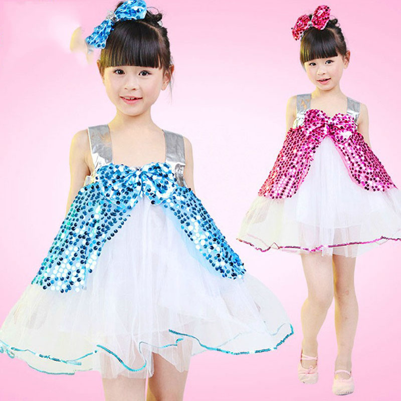 Free shipping Children's performance stage dance dress Children's dance sequined girl's Dance bubble gauze dress JQ-615