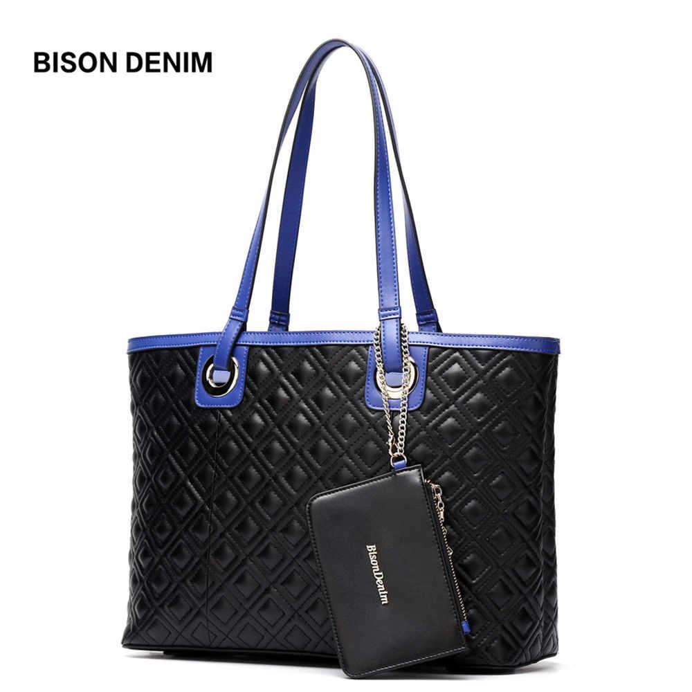 dd3dc1d1b1fd Бизон джинсовый из натуральной кожи Для женщин сумки большие сумки на ремне  для Для женщин 2018