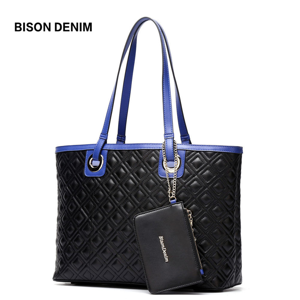 BISON DENIM Genuine Leather Women Handbag Large Shoulder Bags for Women 2018 Female Top-Handle Bag Tote bolsa feminina N1185 hermerce vintage tote bag genuine leather bag female handbag top handle bags women shoulder bags for women 2018 bolsa feminina