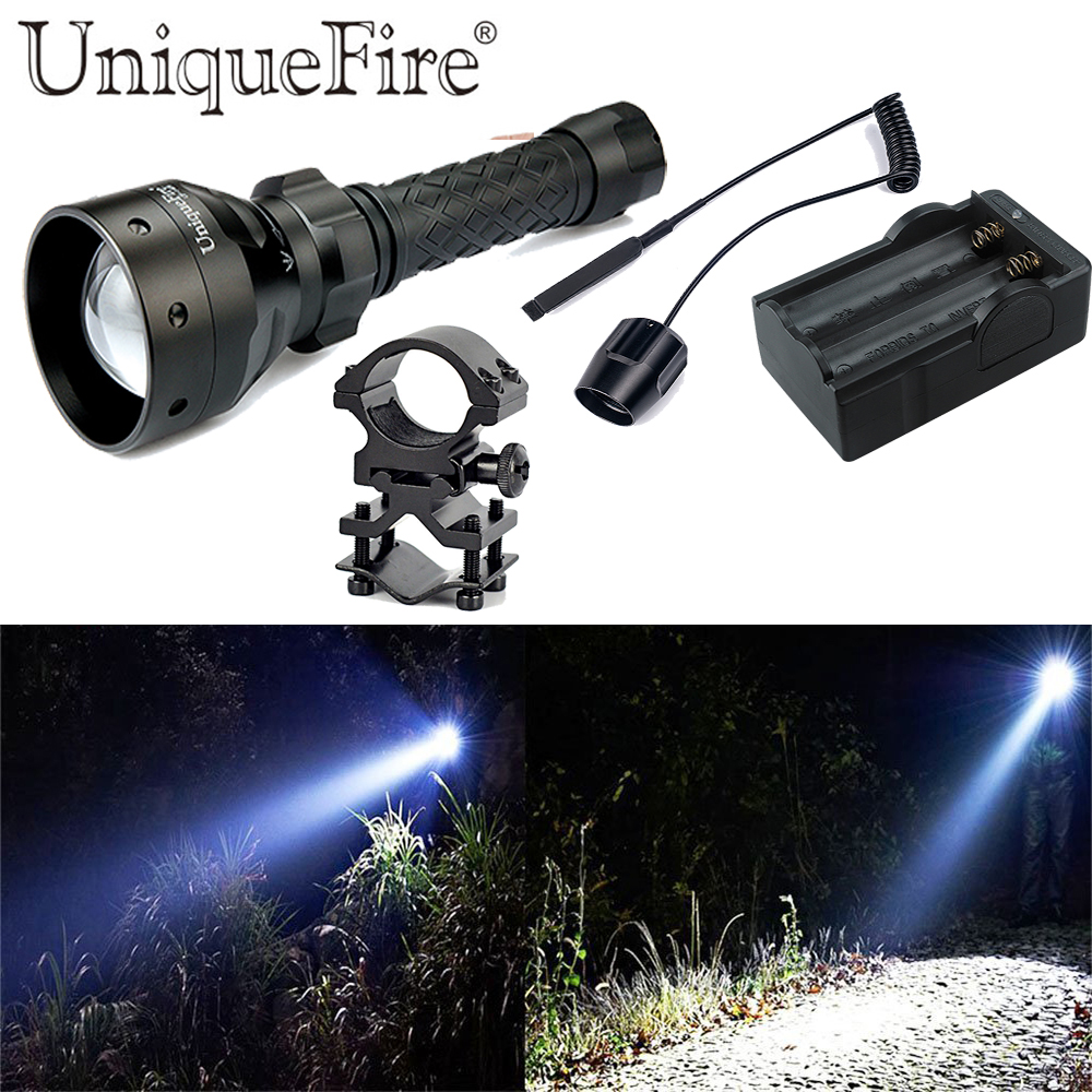 UniqueFire 1406 Cree XML T6 LED Flashlight 1200LM Tactical Light For 18650 Battery Kit: 1Torch,1Gun Mount, 1Rat Tail, 1Charger new klarus xt11gt cree xhp35 hi d4 led 2000 lm 4 mode tactical led flashlight free usb port and 18650 battey for self defence