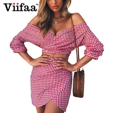 Viifaa Red Plaid Sexy Summer Dress Bodycon Women Two Piece Outfits Shirt  Dresses 2018 Off Shoulder 19c4f5ce0ea4