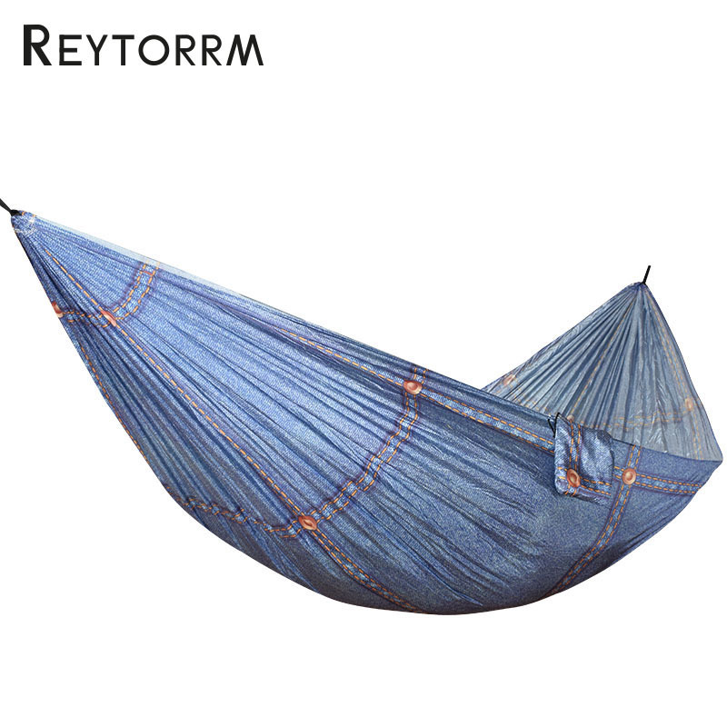 Unique Colorful Printing Parachute Hammock Nylon Outdoor Relax Leisure Hamac With Carabiner And Strap Hanging