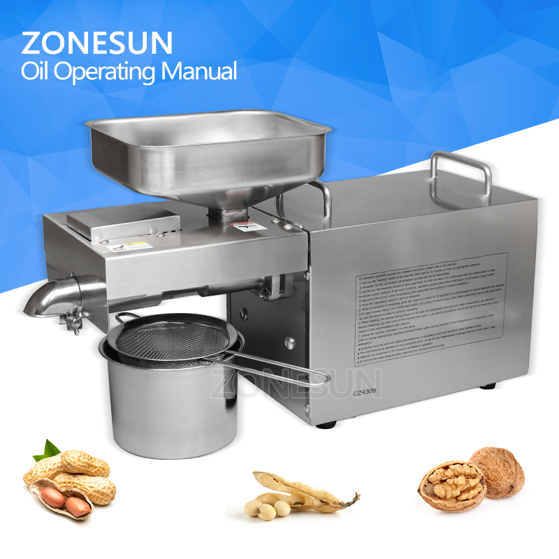 ZONESUN 1500W Stainless steel automatic small seed oil extraction machine cold oil press oil expeller mini oil press machine automatic stainless steel cold press oil extraction machine heat seeds oil press machine acoconut almond nut oil extractor