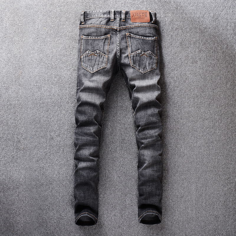 Vintage Design Fashion Men Jeans Dark Gray Color Slim Fit Ripped Jeans For Men Denim Pants Streetwear Classical Jeans homme in Jeans from Men 39 s Clothing