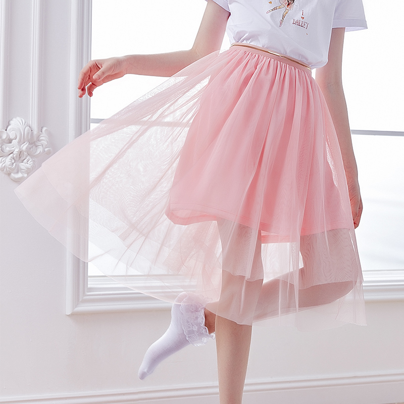 Girls Lyrical Dance Skirts Kids 3 layers Soft Yarn Daily Wear Ballet Dress Polyester Dance Costumes
