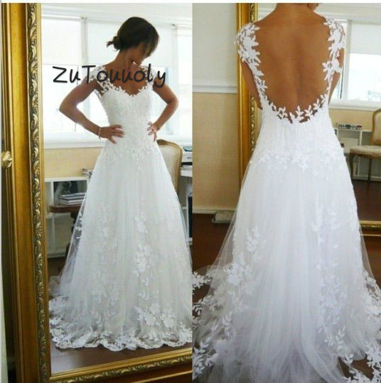 Summer Wedding Dresses Boho Beachy White Floral Lace Bohemian Wedding Dress Transparent Back Robe De Mariee 2019 Fashion Wedding