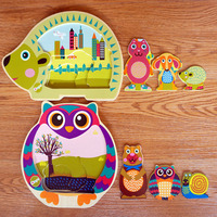 Baby Montessori Material Wooden Animals Three Layers Puzzles Bright Color Owl Hedgehog 3d Puzzle Educational Toys For Children