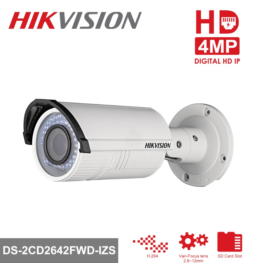 Hikvision Video Surveillance CCTV Bullet Camera DS-2CD2642FWD-IZS 4MP WDR Vari-Focus Lens 2.8~12mm Network POE IP Cameras IR30m hikvision 4mp ip camera ds 2cd1641fwd i 4mp vari focal network camera hd 1080p real time video ir bullet poe cctv camera