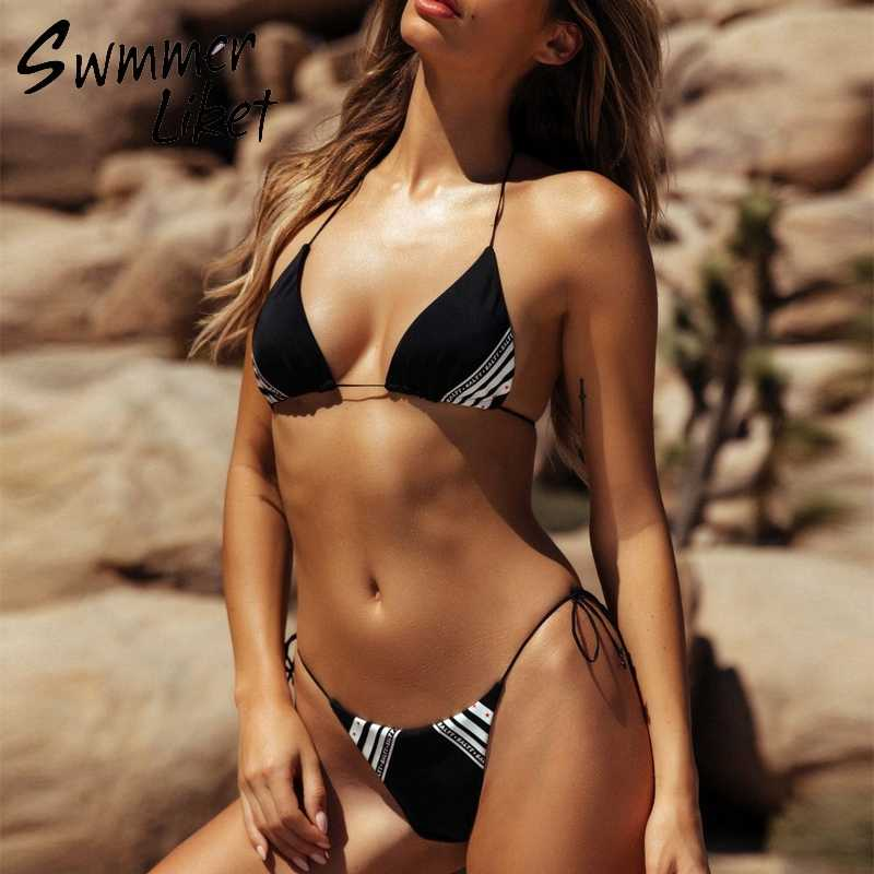d448469bd66 ... Halter string swimsuit 2019 Red brazil bikini triangle push up swimwear  women bathers Micro extreme bikini ...