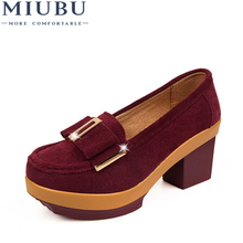 MIUBU Women pumps platform shoes suede Leather Metal buckle Bow tie High square Heels Ladies wedge Wine red Blue Green PF 014
