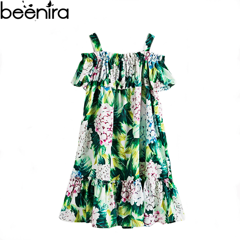 Flower Girls Dress Brand Girls Hydrangea Shoulderless Print Pary Dresses Baby Princess Bohemian Ball Gown Clothing for Beach