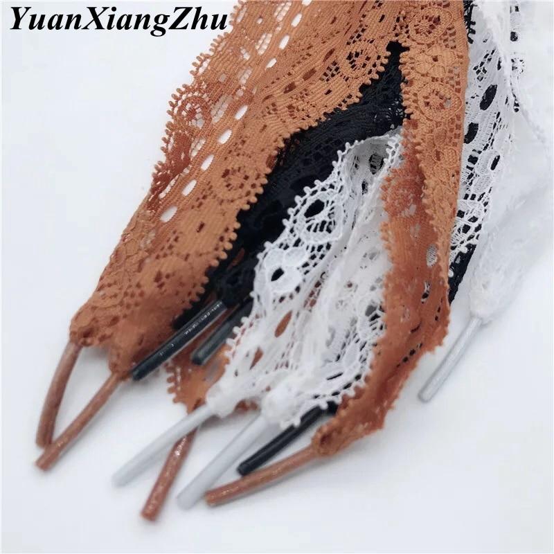 1 Pair Shoelace New 3CM Width Fashion Sexy Lace Shoelaces 80CM/100CM/120CM Length Canvas Sneaker Sport Shoes Laces 3 Colors LS-1