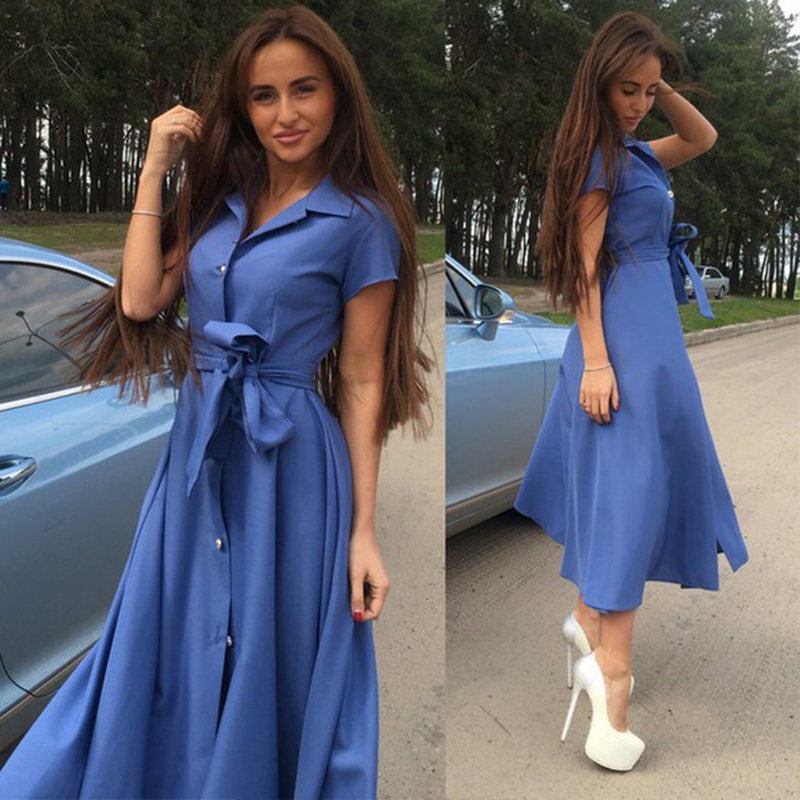 Women Vintage Sashes Button A-line Party Dress Short Sleeve Turn-Down Collar Solid Elegant Dress 2019 Summer New Fashion Dress
