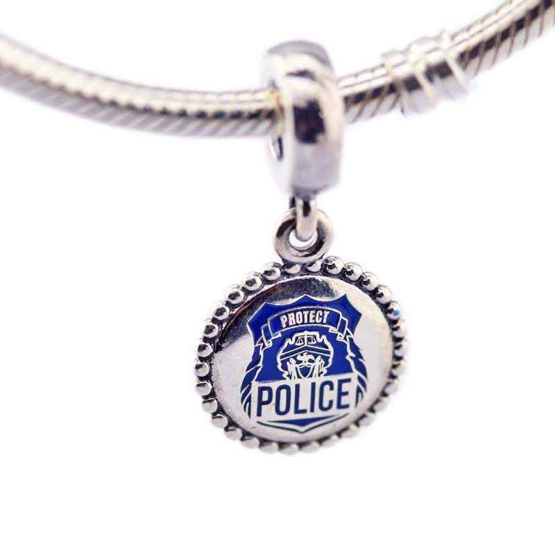 POLICE Hanging Charm Bead Fit Silver Charm Bracelet 925 Silver Jewelry For Women Bracelet DIY Valentines GiftPOLICE Hanging Charm Bead Fit Silver Charm Bracelet 925 Silver Jewelry For Women Bracelet DIY Valentines Gift