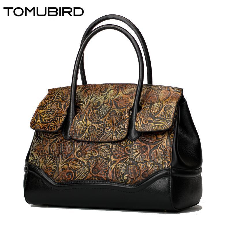 TOMUBIRD women genuine leather bag fashion luxury handbag women bags designer Retro embossed women leather handbags shoulder bag
