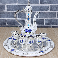 Continental Retro Color Tin Wine Glass Flagon Russian Alloy Six Glasses Suit Home Furnishing Hotel Decoration
