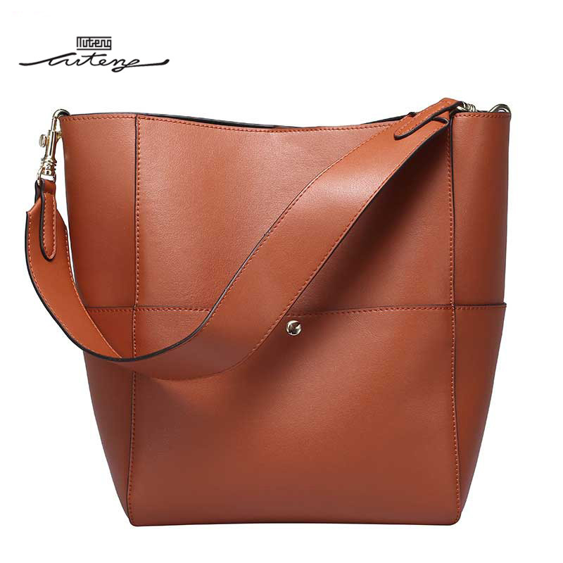 TU-TENG 2018 New Fashion Women Easy Use Bucket Tote Luxury Handbags Women Bags Designer Elegant Smooth Versatile G85570 tu teng women elegant doctor bag 2 way tote luxury leather pure color 2018 fashion zipper elegant design lady black khaiki red