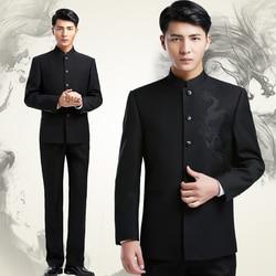 Chinesischen stehkragen Zhongshan anzüge Jacke + Hosen männer der bestickt drache totem kleidung modische version schlank jugend Anzüge