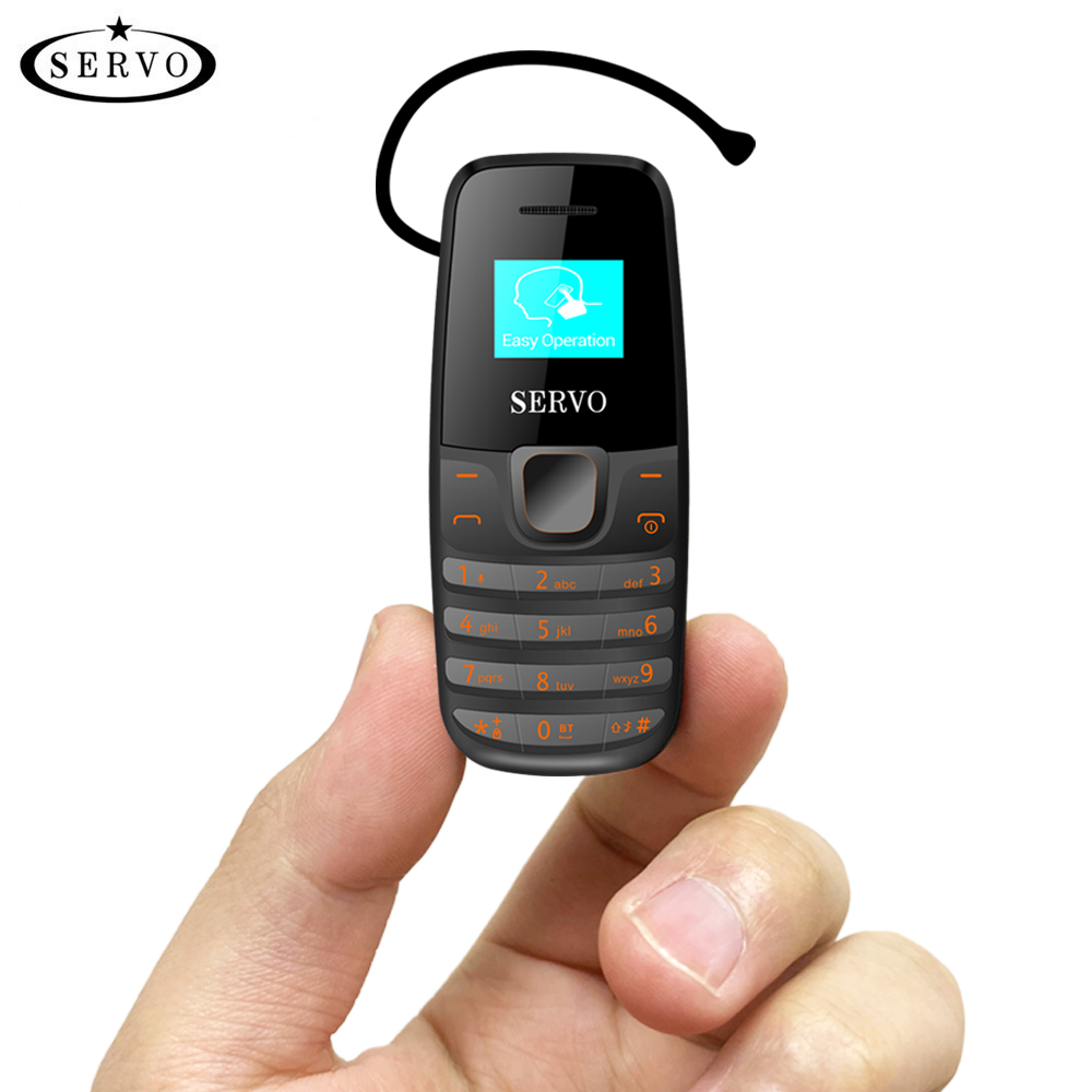 Original Phone SERVO S09 Bluetooth Dialer Mini Mobile Phones 0.66inch Tiny Screen GSM Low Radiation Dual SIM Bluetooth Earphone
