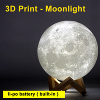 USB Rechargeable 3D Print Moon Lamp 2 Colors Change Touch Switch Bedroom Bookcase Moon Night Light