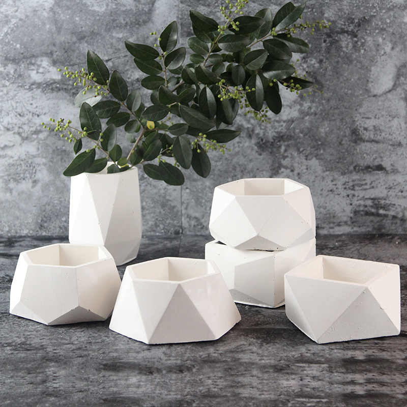 New Silicone Concrete Mold Geometric Flower Pots Cement Vase Mould Handmade Planter Multi-flower Plate Garden Decoration Tool
