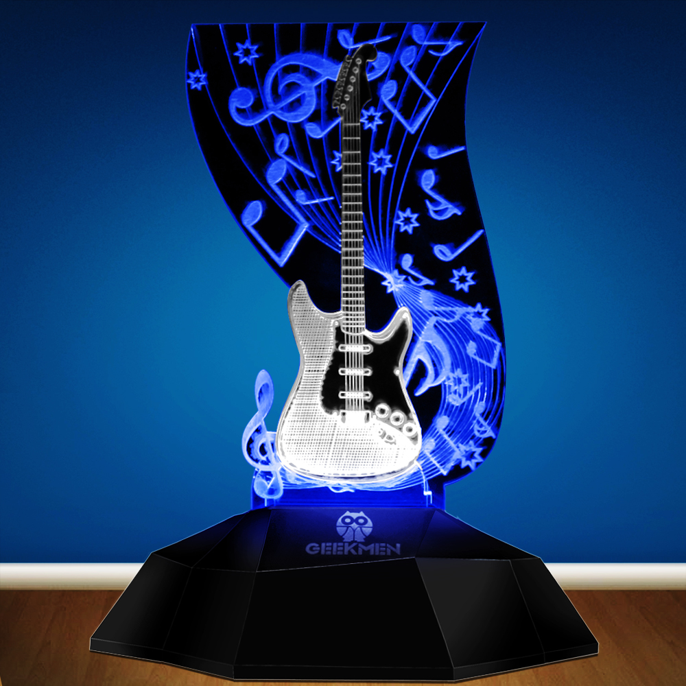 Music Note Lighting Art Music Instrument Guitar 3D Line Lamp LED Decorative Desk Lamp Guitarist Music Room Night Decor