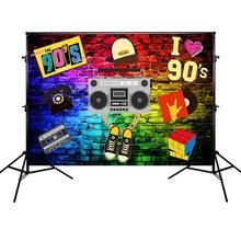 Music Theme Background 90s for Party Graffiti Photography Backdrop Decoration Rock Polyester Cloth