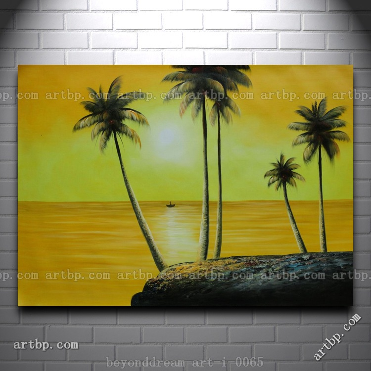 Beachside Palm Trees Under Golden Sunset Oil Painting Naturalism ...