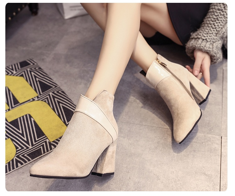 High heels shoes women autumn winter sexy pointed toe ankle boots ladies retro chunky heels short boots botas mujer beige black 58