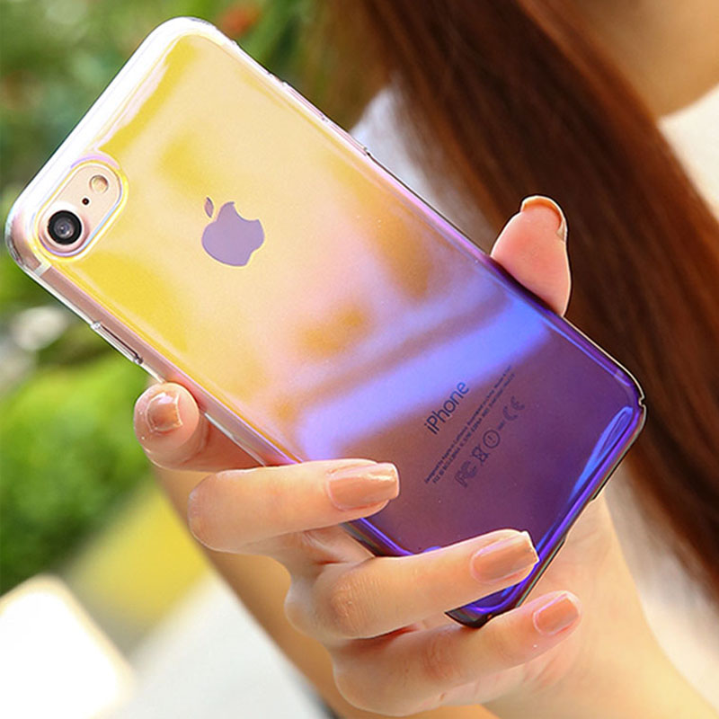 Hot Aurora Blue Light Transparent Gradient Hard PC phone cover for iPhone X 6 6S 7 8 Plus Clear Plating Luxury cover fundas