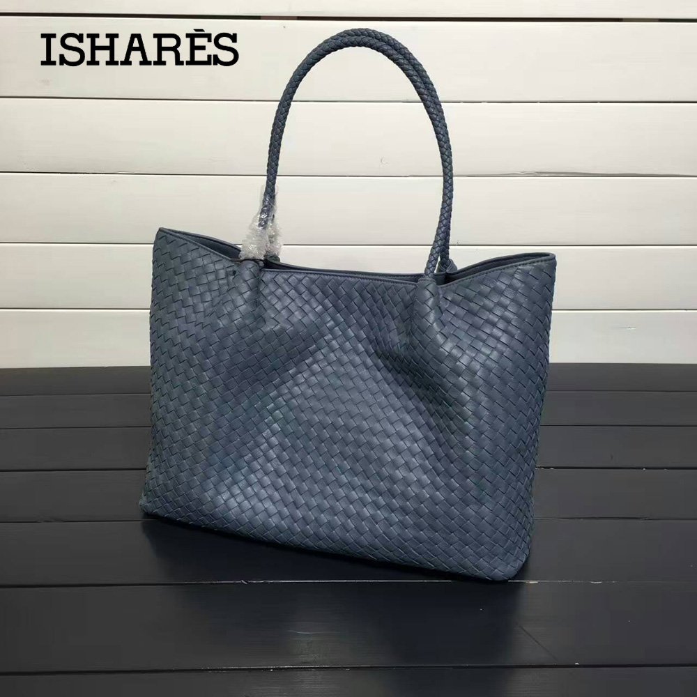 ISHARES lambskin shoulder Handbags For Women Ladies Genuine Leather  Sheepskin Woven Large Capacity composite Totes IS8832 96ea6cf370
