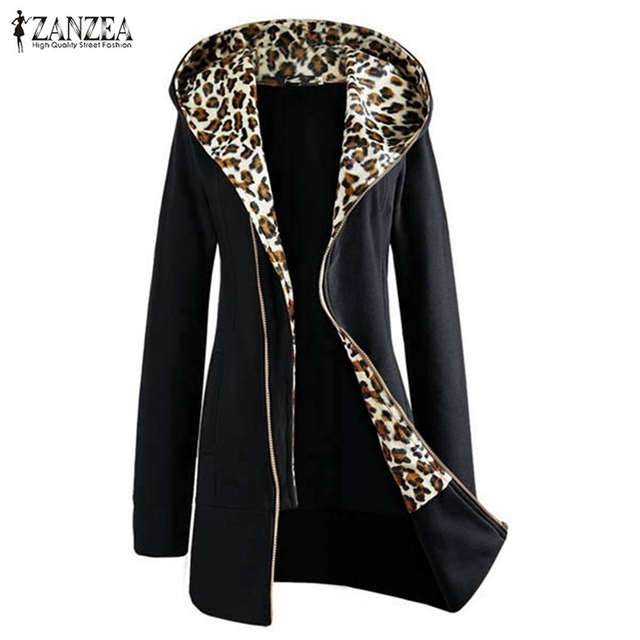 New Fashion 2017 Autumn Winter Women Ladies Leopard Hooded Fleece Jacket Zip Up o Neck Coat Outerwear M-4XL High Quality