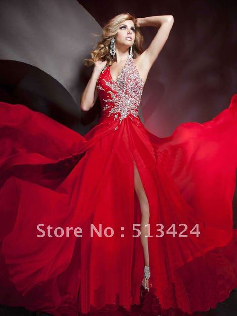 Red 2012 Halter Prom Ball/Party Pageant Dresses Evening Foraml Gowns ...